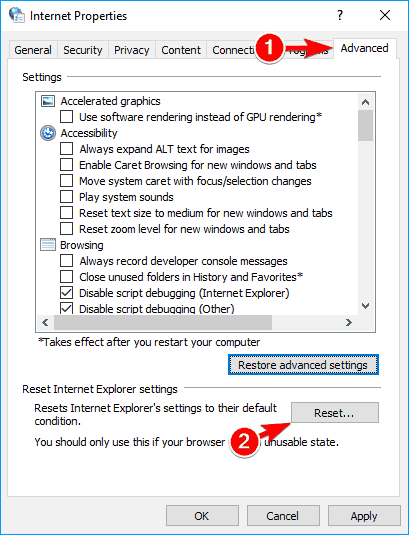 Reset the Internet settings in Windows 10